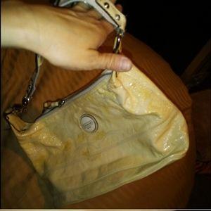 Coach cream yellow patent leather mediu bucket bag